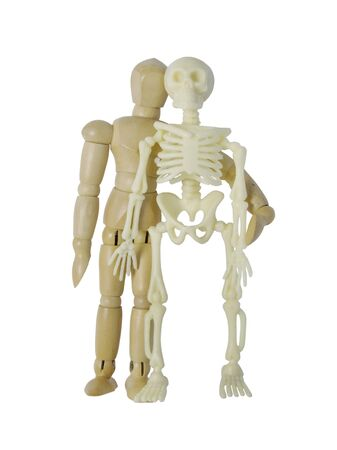 chums: Person standing next to a skeleton - path included Stock Photo