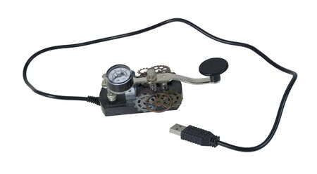USB Morse Code telegraph key used as a communication device - path included