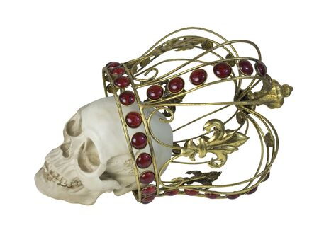 skull with crown: Skull wearing a golden crown with red jewels in it - path included Stock Photo