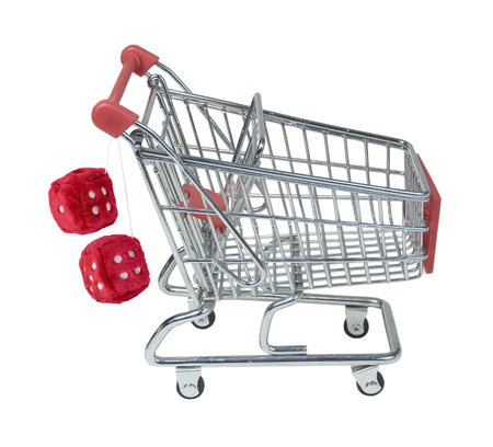 fuzzy: Shopping Cart with Fuzzy Dice Hanging from Handle - path included Stock Photo