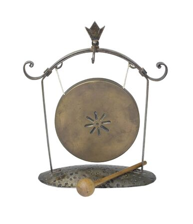 resonate: A gong hanging from a frame makes a resonating sound when struck with a striker - path included