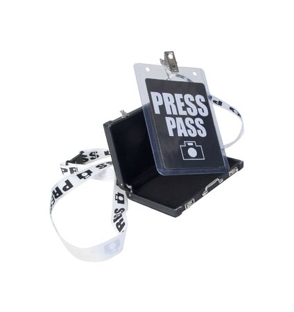 Plastic covered Press pass on a tethered lanyard in a Briefcase - path included