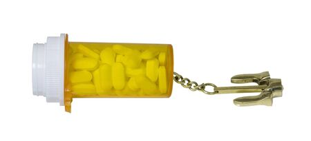 Nautical anchor attached to Prescription bottle full of pills  - path included