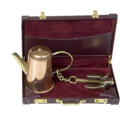Retro perculator coffee pot with Anchor in Briefcase - path included