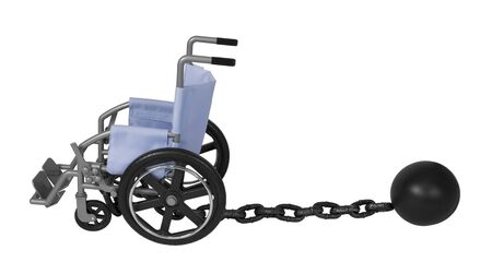 Wheelchair and Large metal ball and chain made to hamper movement - path included Stock Photo