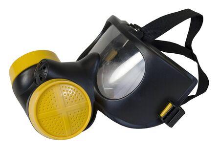 Gasmasker met gele filters om de drager te beschermen tegen vervuilende stoffen in de lucht en giftige gassen