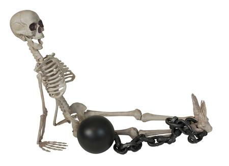 Het skelet met kogel en ketting rond de enkelpad inbegrepen