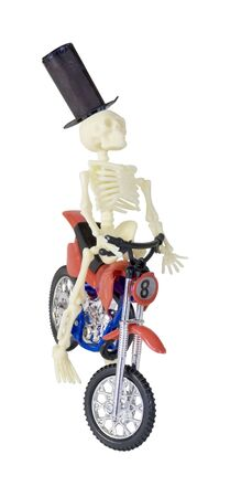 Skeleton in Top Hat Riding Motorcycle - path included Reklamní fotografie