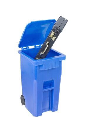 Briefcase in Recycle bin used to hold items to be reduced and reused to help the environment - path included