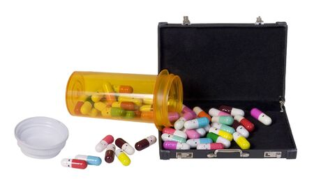 Happy Pills Pouring from a medication bottle in a briefcase - path included