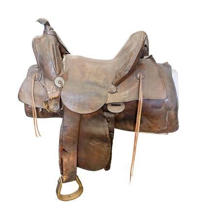 Antiek bruin lederen zadel voor het rijden op binnenlandse paarden - inclusief pad