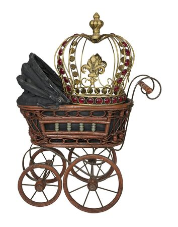 Vintage bassinet met Golden Crown - pad inbegrepen Stockfoto