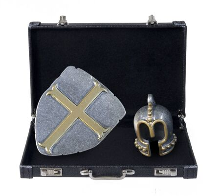 Medieval helm with shield in a briefcase - path included Reklamní fotografie
