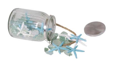 Zeester met Seaglass die van een Kruik morst - inbegrepen weg Stockfoto