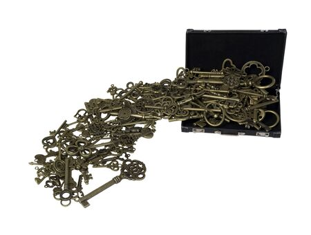 Antique Intricate Keys Spilling from Briefcase representing unlocking an idea - path included