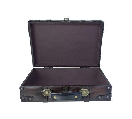 Open vintage koffer gebruikt om kleding en benodigdheden mee te nemen tijdens het reizen - inclusief pad Stockfoto