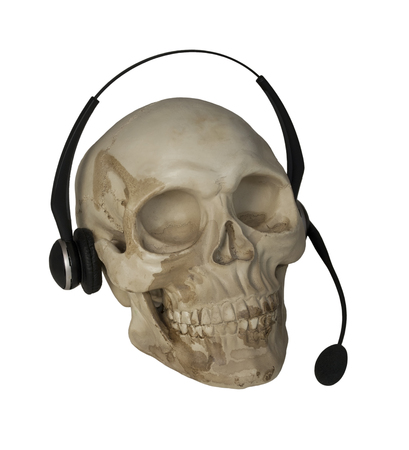 Audio microphone used to amplify communication On Skull - path included