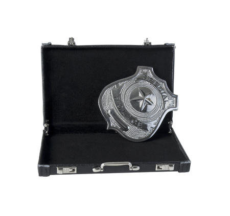 Silver special police badge with a star in a briefcase - path included