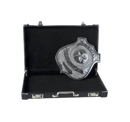 Zilver speciaal politie badge met een ster in een aktetas - pad inbegrepen