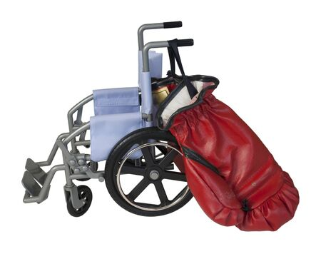 Wheelchair used for assistance in personal transportation with Boxing Gloves - Path Included
