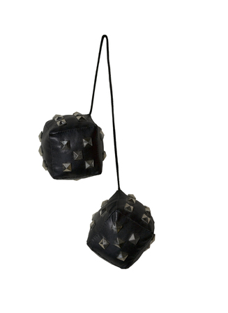 Leather and Spikes Dice similar to the fuzzy dice that are usually hung from the rear view mirror of a car - path included Imagens