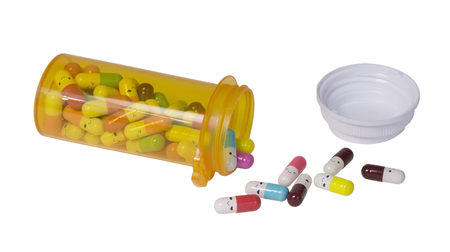 Happy Pills with smiles Pouring From Medicine Bottle - path included
