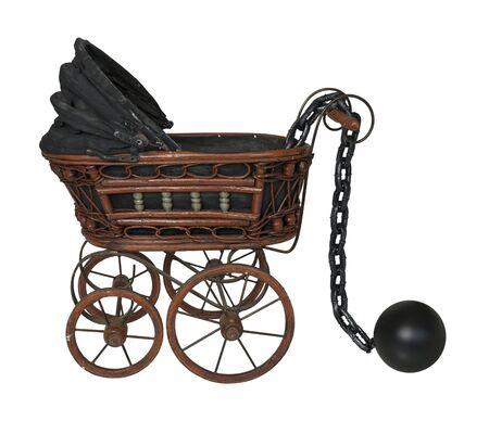 Grote metalen bal en ketting met wieg - inclusief pad