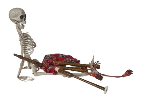 Skeleton with Traditional Scottish Bagpipes with Reeds and Bag - path included Reklamní fotografie