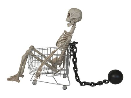 Shopping cart with Skeleton with Ball and Chain - path included Reklamní fotografie