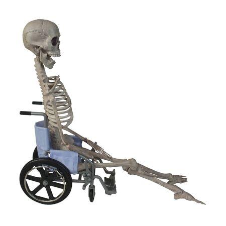 Het skelet in een rolstoel - pad inbegrepen