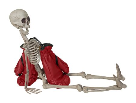 Skeleton with Red Boxing Gloves - path included