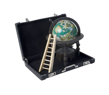 Wooden Ladder and Vintage Globe in a Leather Briefcase - path included