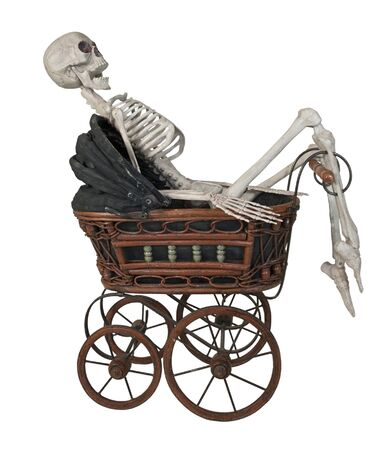 Skeleton in a Vintage bassinet with folding cover and handle - path included