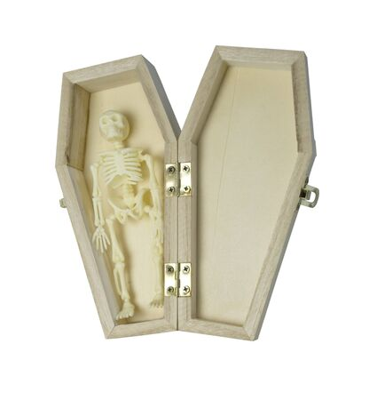 Skeleton lying in Wooden coffin - path included