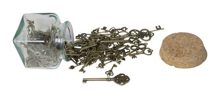 Antique Intricate Keys spilling from a jar representing unlocking an idea, treasure, or love - path included