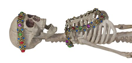 Skeleton Wearing Antique Gem Jewelry - path included