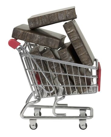 Shopping cart full of large Books - path included