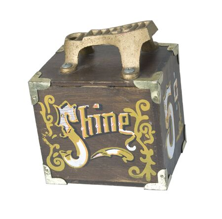 Vintage shoe shine box used to manually polish formal shoes - path included