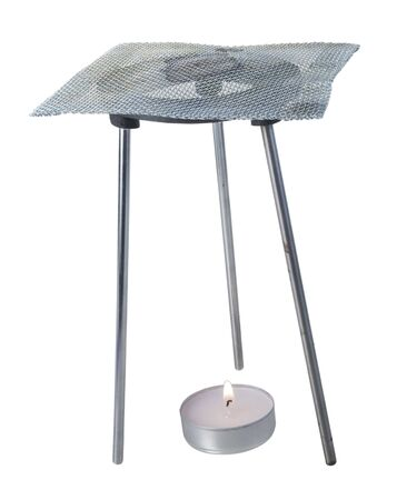 Tripod burner with mesh grating for soldering items - path included Stockfoto