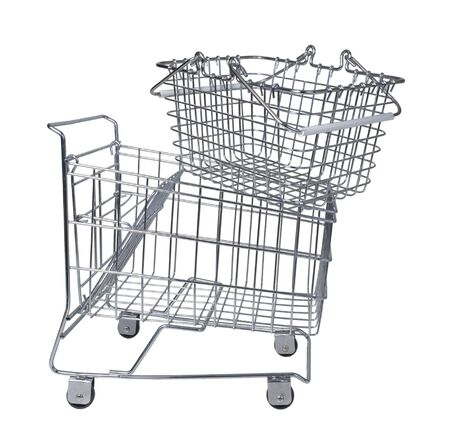 Shopping basket on a shopping cart for carrying a small amount of groceries - path included