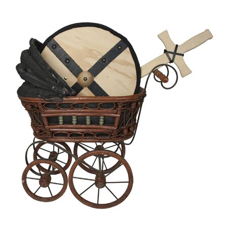 Bassinet with Shield and Sword - path included Stockfoto