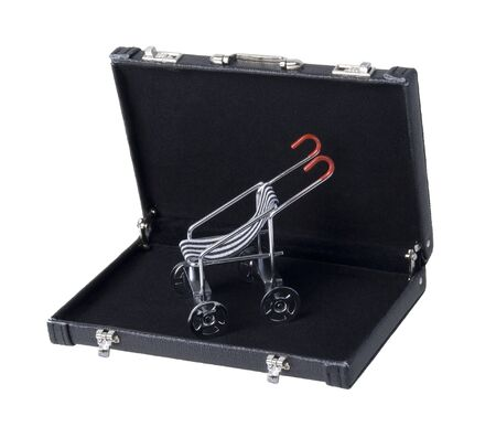 Stroller used to transporting children easily in a briefcase - path included Stockfoto