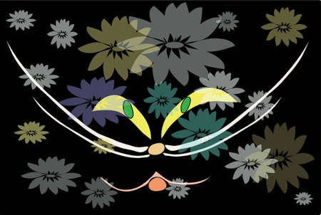 flowerses: The Mug of the cat close-up on black background with transparent colour.  illustration.