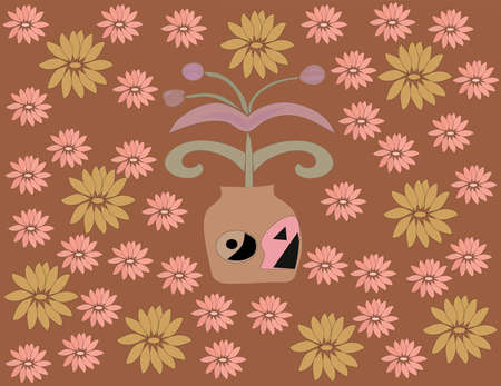 flowerses: Flower in pot on brown floral background