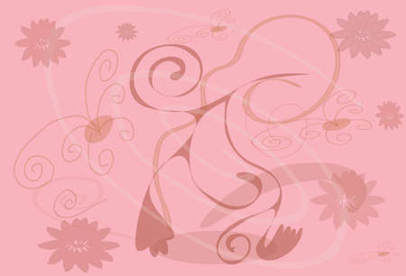 gentile: Plant with colour on rose background  Illustration