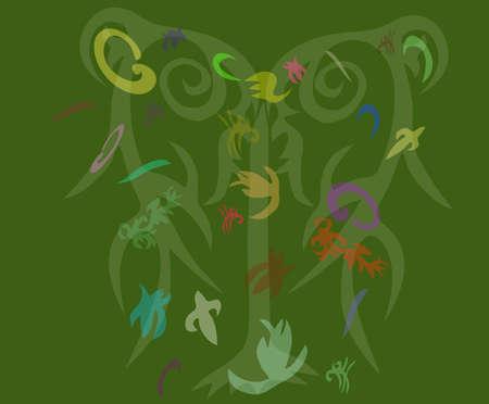 varicoloured: Tree on green background with varicoloured element