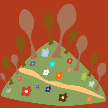 flowerses: Wood with colour on green island on maroon background, vector, illustration