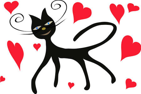 Black cat with red heart, illustration Stock Vector - 7527932