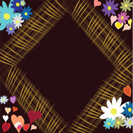 flowerses: Frame with colour and heart on dark-brown background