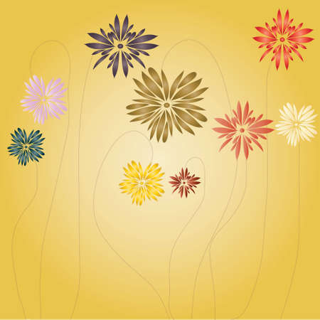 gentile: Flowers of the miscellaneous colour on light-yellow background Illustration